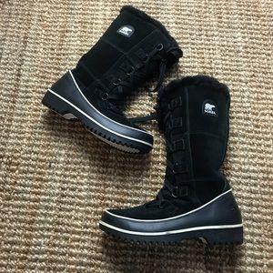 Sorel Boots Black Fur Lined Winter Snow Waterproof
